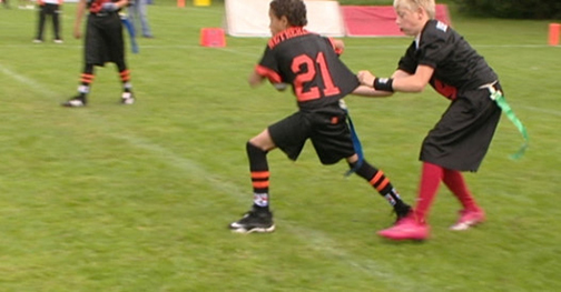A Team Ireland Junior Flag player tags a player from the eventual champions Netherlands at the EFAF Junior Flag Chamoionships 2012